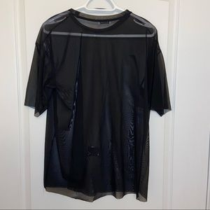 Zara black stretch flowy mesh shirt